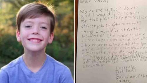 9 წლის ამერიკელმა ბიჭმა NASA-სგან წერილი მიიღო