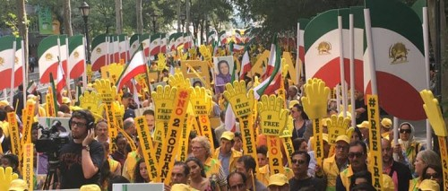 Protesters rally against Iranian president at United Nations