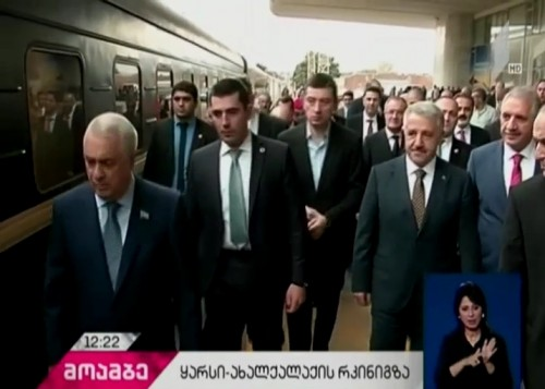 Economic Minister inspecting construction of Baku-Tbilisi-Karsi railway line
