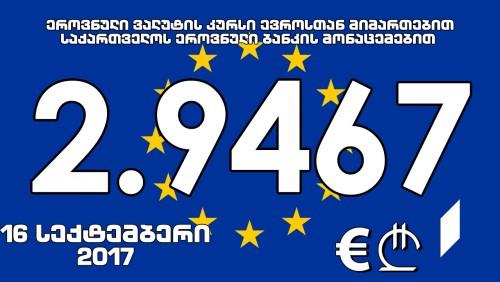 EUR Official Rate against GEL for September 16 -  2.9467