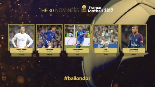 """France Football-მა """"ოქროს ბურთის"""" 30 ნომინანტი დაასახელა"""