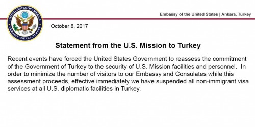 US suspends all non-immigrant visa services in Turkey