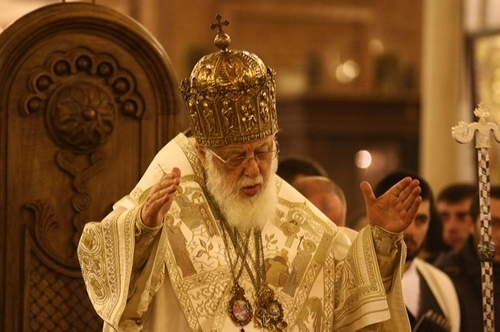 Georgian Patriarch holding solemn liturgy at Svetitskhoveli Cathedral