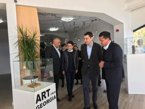 Exhibition of young sculptor's works organized at Ambrolauri airport