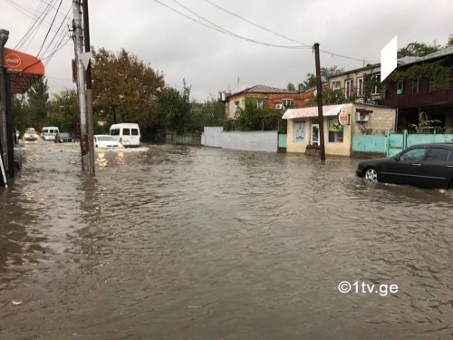 Water leaking into basement after heavy rain in Imereti region