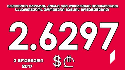 1 აშშ დოლარის ოფიციალური ღირებულება 2.6297 ლარი გახდა