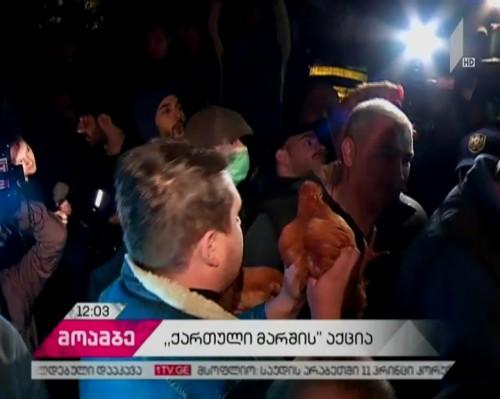 """""""ქართული მარშის"""" საპროტესო აქციაზე ოთხი პირი დააკავეს"""