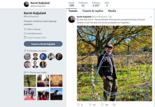 """""""ბოროტების ხაზი"""" - ესტონეთის პრეზიდენტი """"ტვიტერში"""" დათა ვანიშვილის ფოტოს ავრცელებს"""